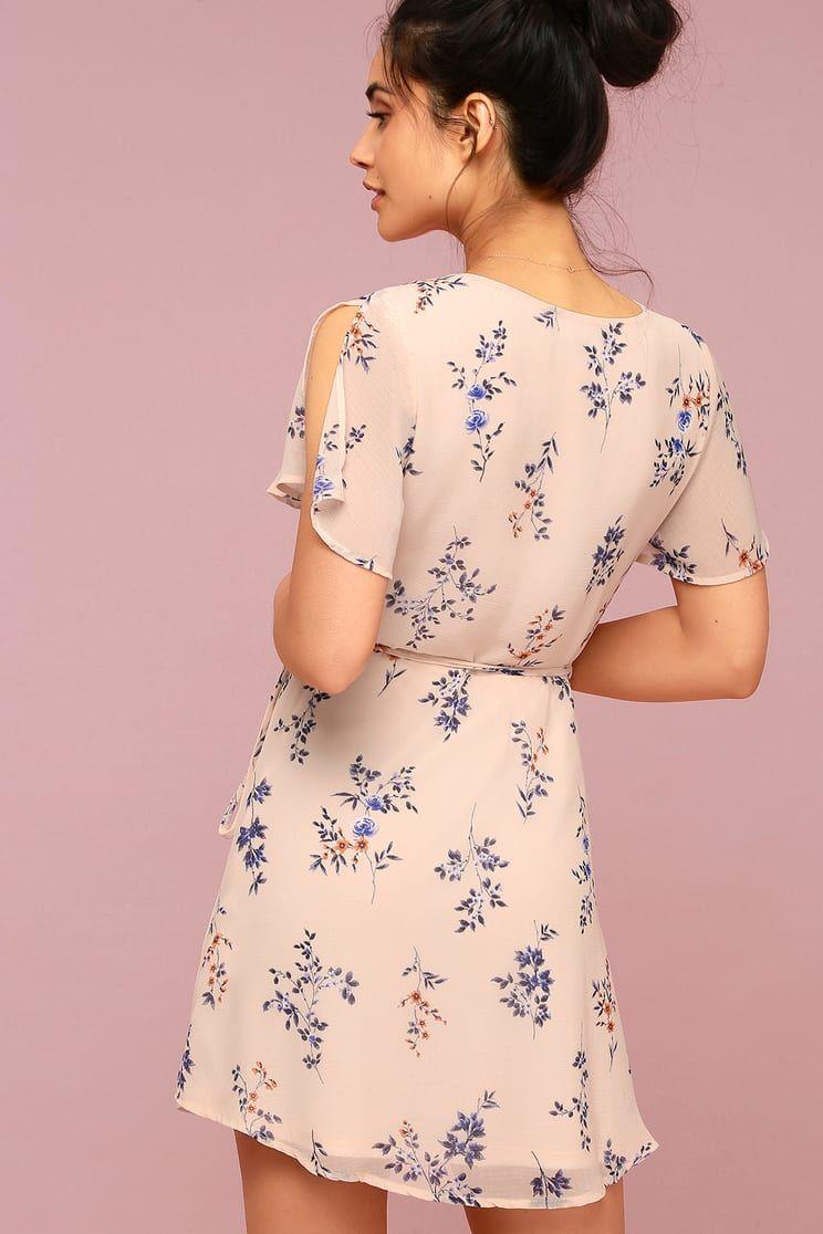 012e8bad57d Fowler Blush Pink Floral Print Wrap Dress