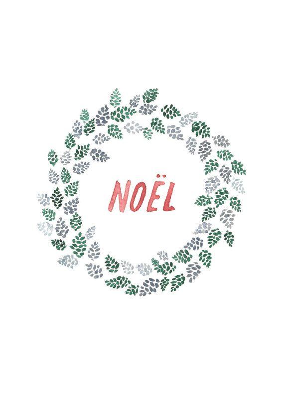 Etsy の Pine Cone Wreath Christmas Card by NatalieCandlish