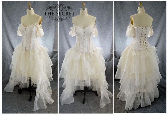 Steampunk Wedding Dress High Low Ivory Is Made To Measure