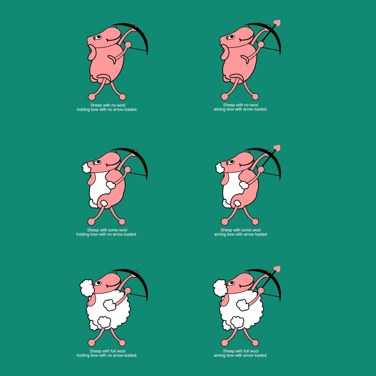 Sheep Cartoon Character for Educational Game Illustration Design by