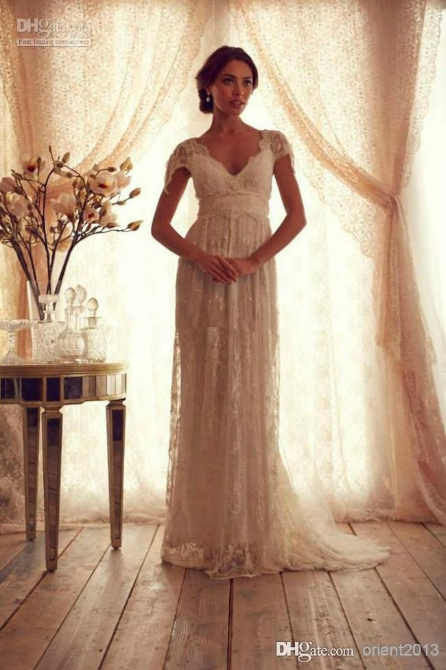 Wholesale Vintage Lace Wedding Dress With Short Sleeves Anna Campbell  Gossamer V Neck Empire Waist Long Bow Backless Bridal Gowns 70ec984efff1