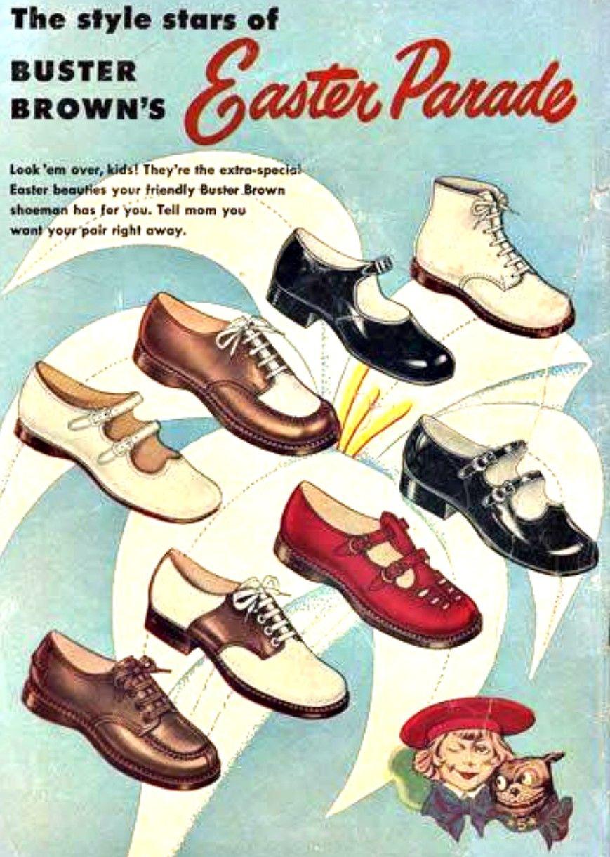 Vintage Easter Children S Shoe Ad Buster Brown Buster Brown My Childhood Memories Childhood