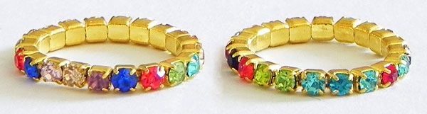 Multicolor Stone Studded Stretchable Toe Ring (Stone and Metal))
