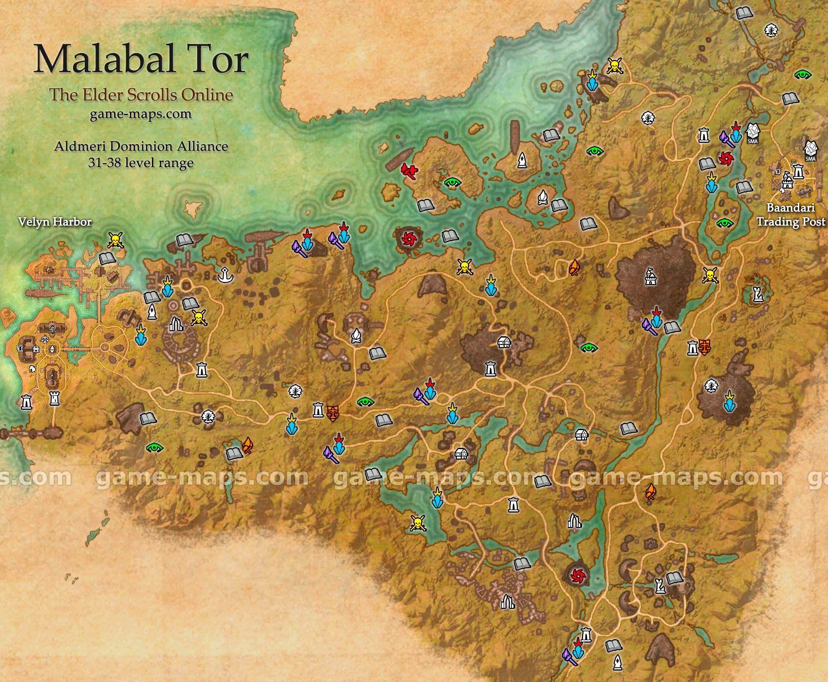 Malabal Tor zone map Velyn Harbor Baandari Trading Post Deepest
