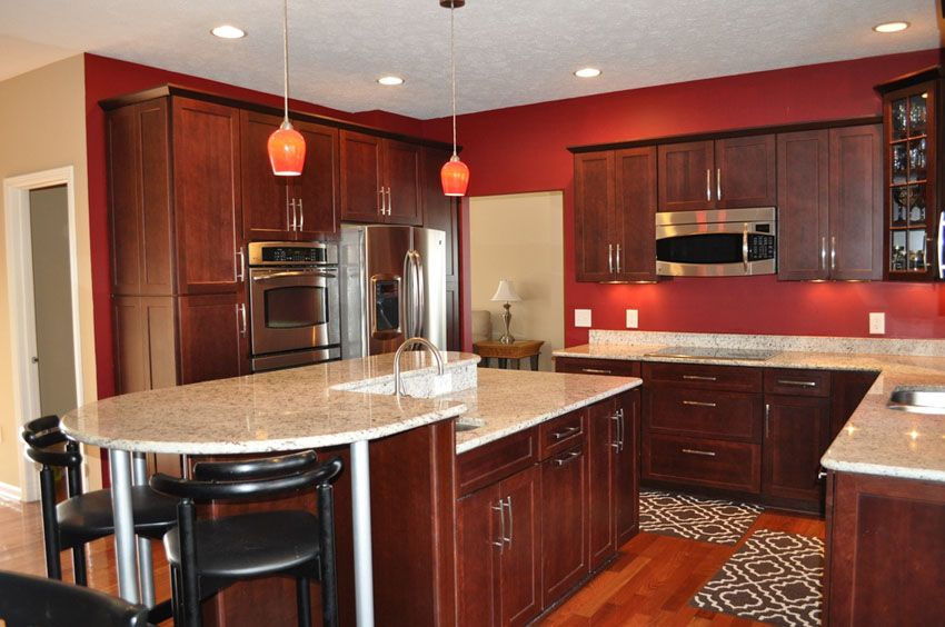25 Cherry Wood Kitchens Cabinet Designs Ideas Red Kitchen
