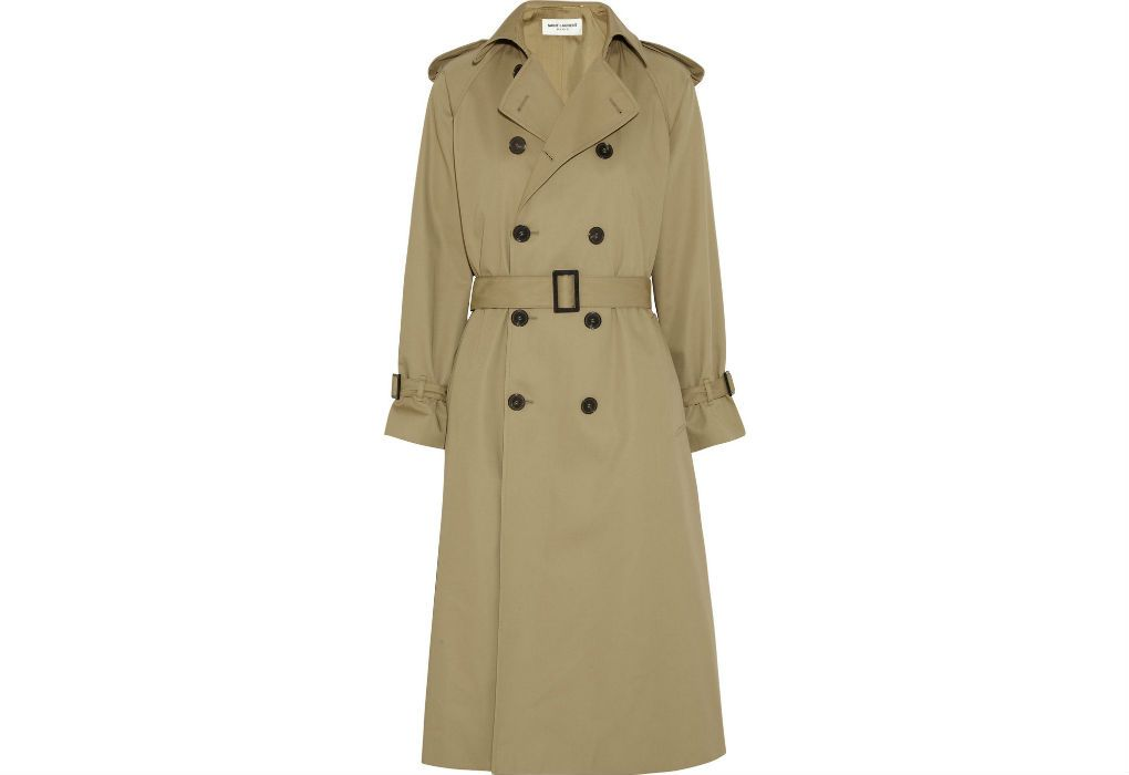 Saint Laurent's beige gabardine trench coat is cut for an oversized fit that is perfect for the upcoming spring season. Wear with a white tee and black leggings.  Damage:$2,950