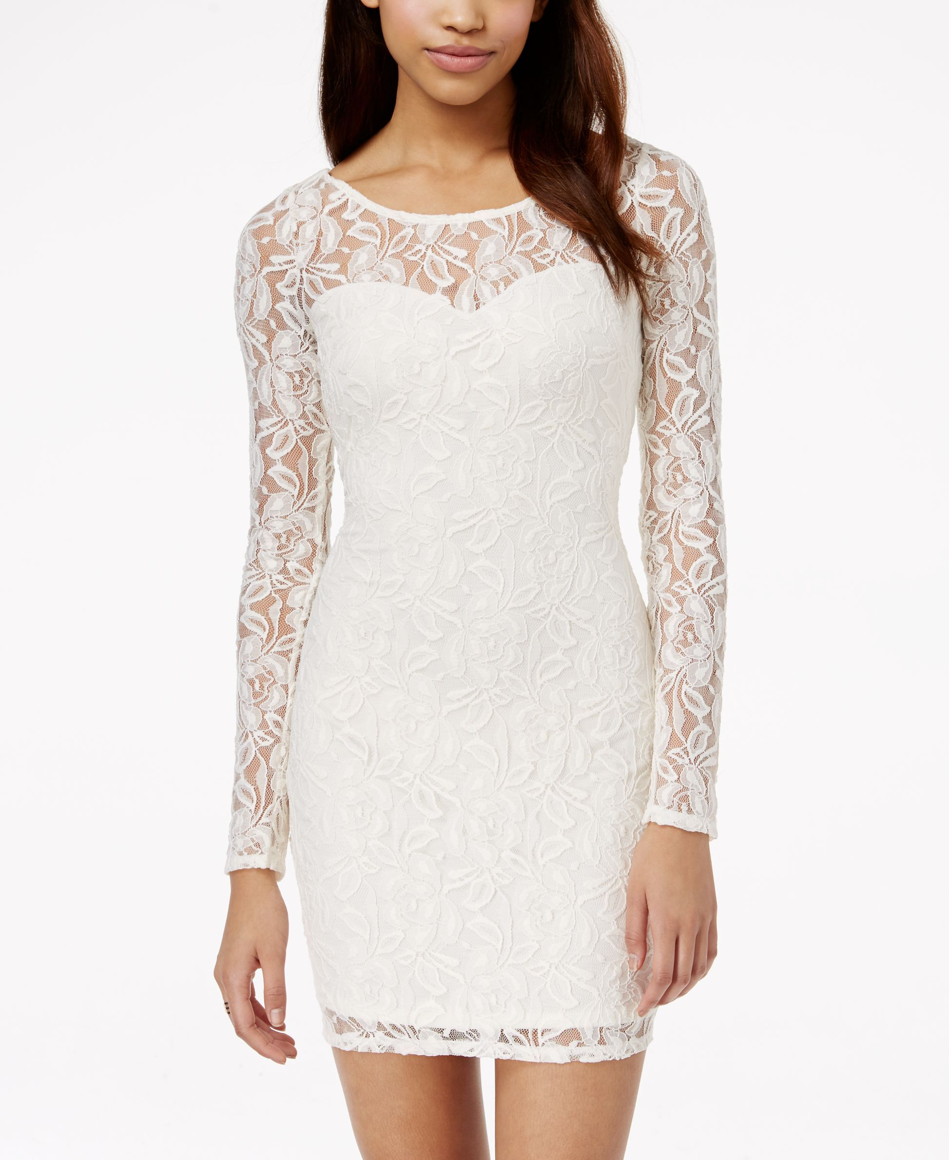 Material Girl Long Sleeve Lace Bodycon Dress Bridal Shower