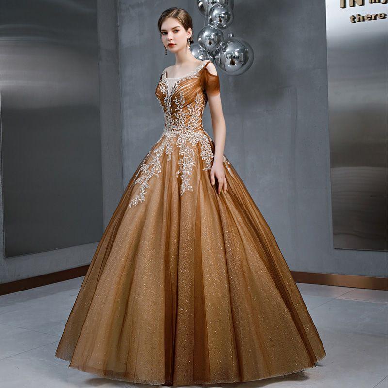 Vintage / Retro Brown See-through Prom Dresses 2020 A-Line ...