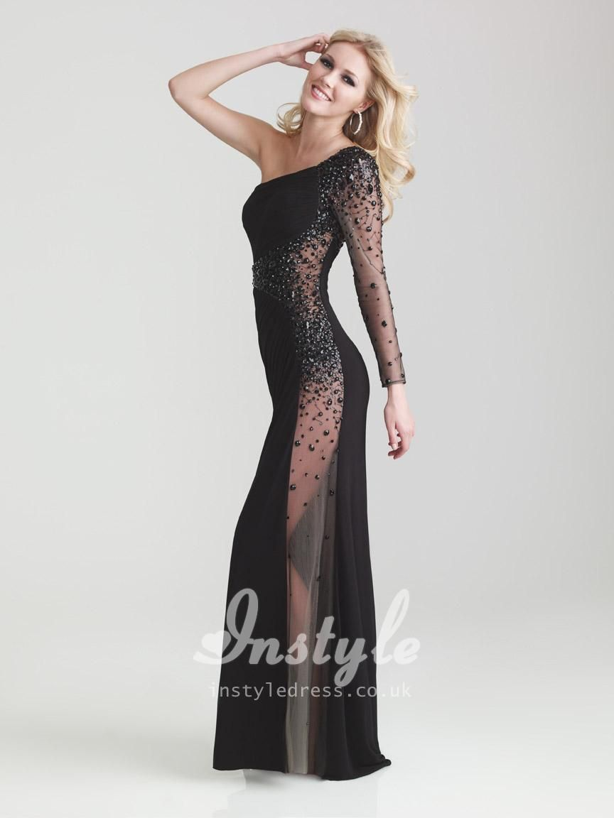 sexy one shoulder floor length gowns