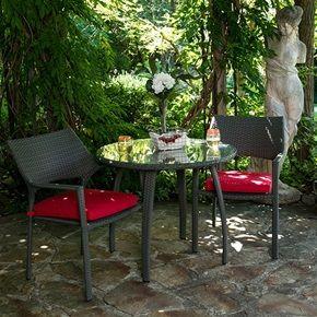 Chaise et table bistro Cosmo faite d aluminium et de rotin