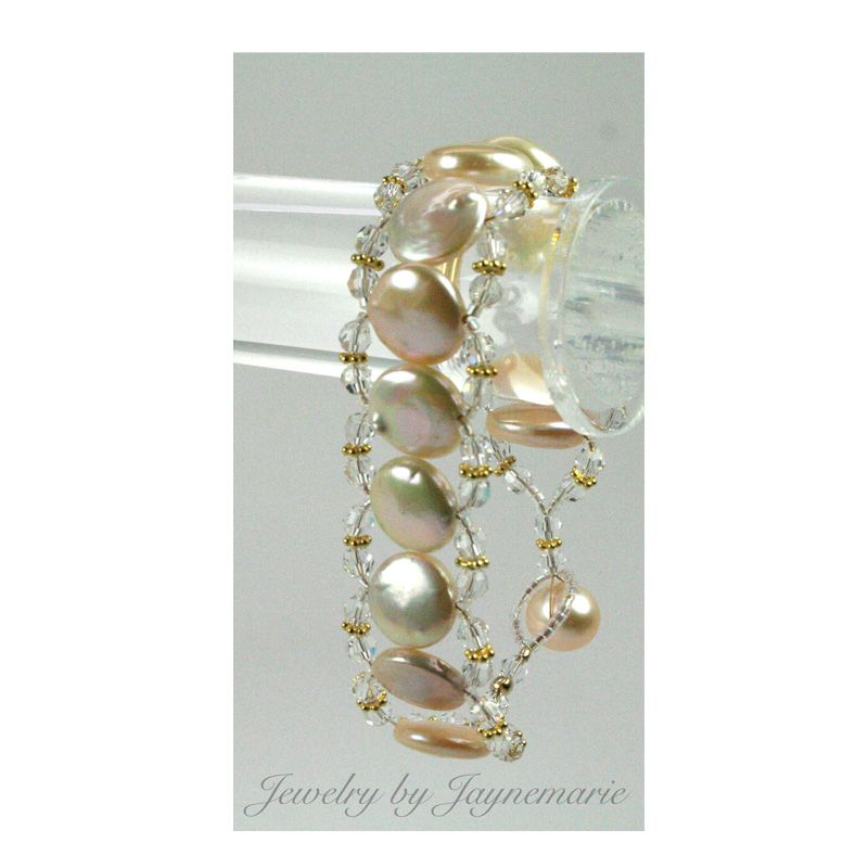 Natural multi-colored coin pearls with Swarovski crystals. Bracelet with pearl-button clasp. Also made with magnetic clasp.