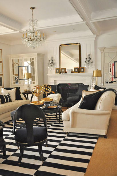 A Happy Space: Black And Cream Base With Gold Accents  Megan Winters.Loving  The Black And White Dhurrie Rug In This Room. It Adds A Modern Punch.