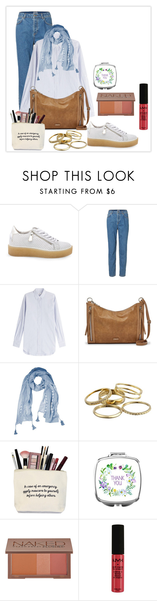 """""""B e t w e e n"""" by haranata ❤ liked on Polyvore featuring Steve Madden, Closed, Relic, Kendra Scott, Urban Decay, NYX, casual, Blue, stripes and hijab"""