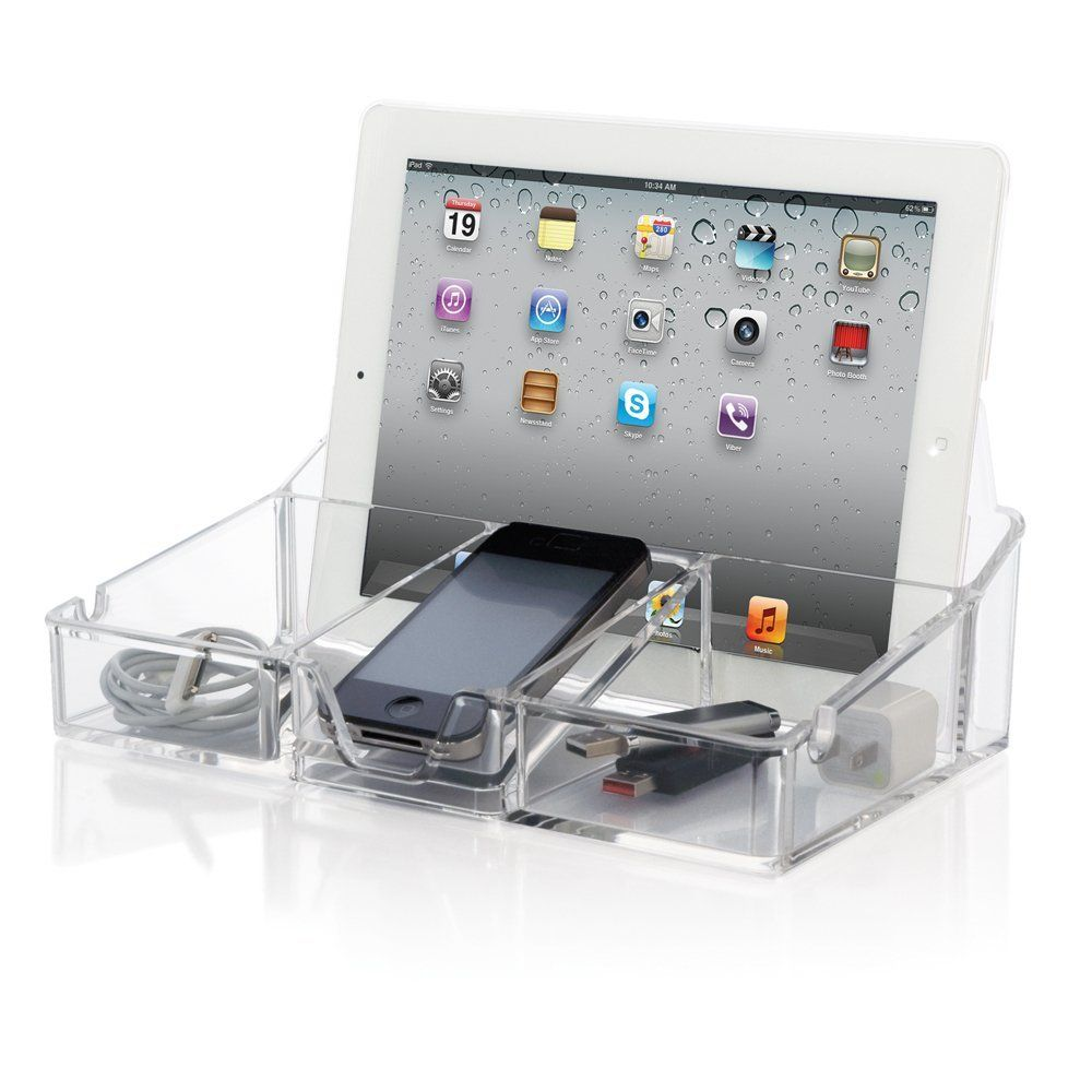 Amazon.com: ClearTech® Acrylic Smartphone Desktop Organizer - Charging Station: Home & Kitchen
