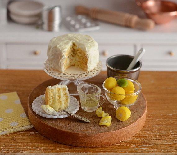 RESERVEDMiniature Baking Lemon Cake Set by CuteinMiniature on Etsy