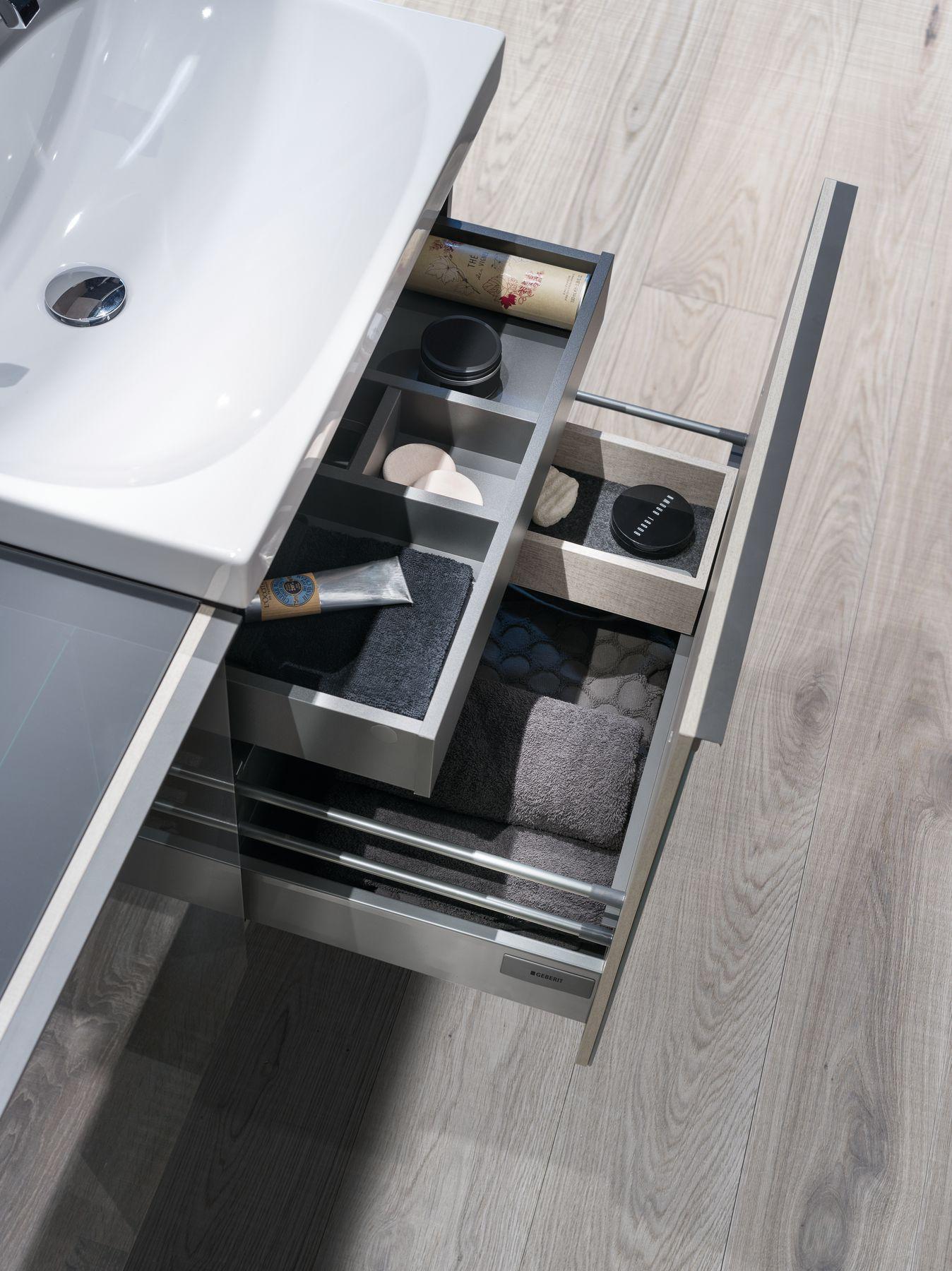 Sous meuble de lavabo avec tiroir et tiroir intérieur  fermeture