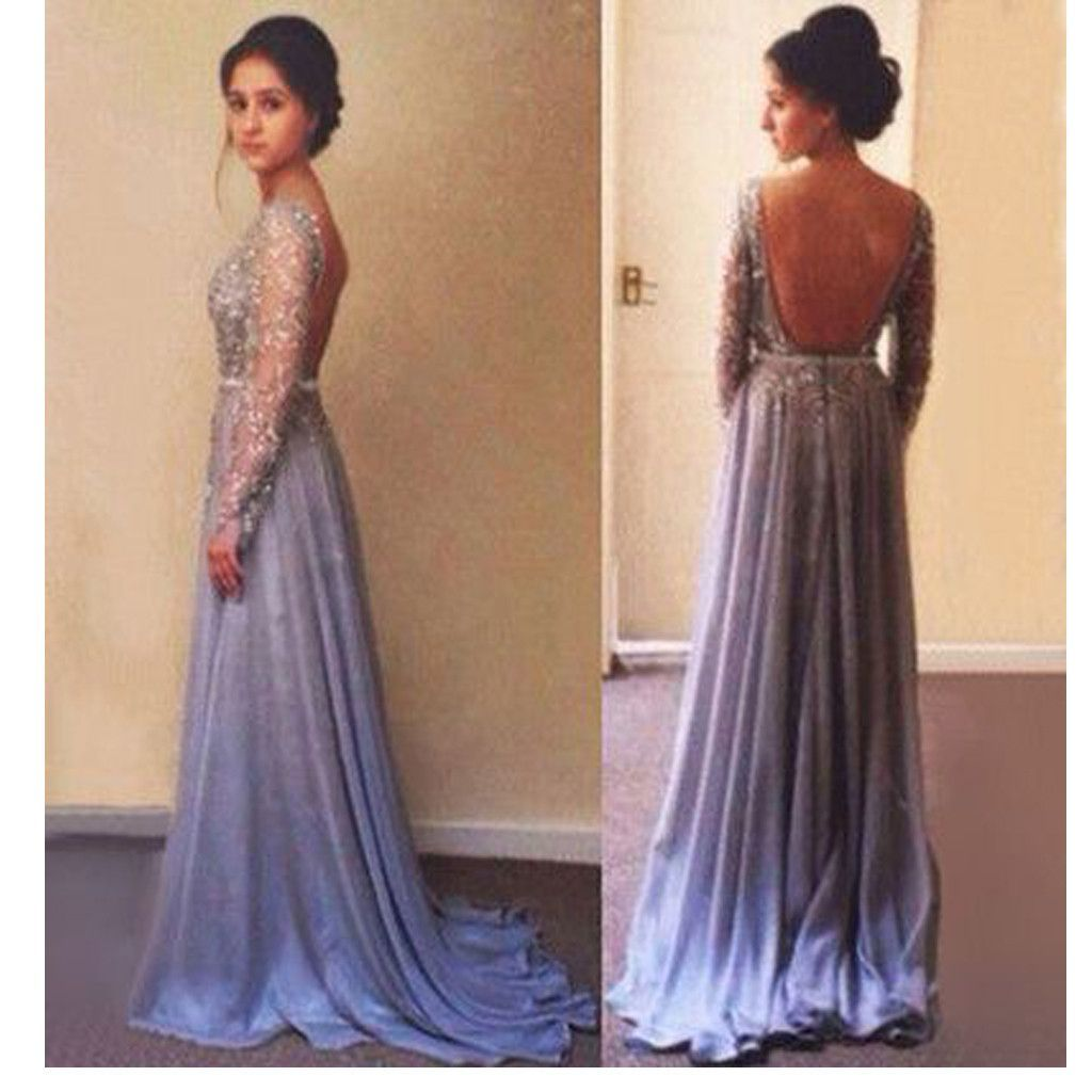 Long sleeve beading sparkly backless sexy charming evening prom gown