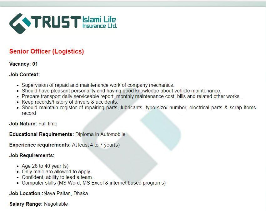 Trust Islami Life Insurance Ltd Senior Officer Job Circular Vacancy Job Circular Trust Job