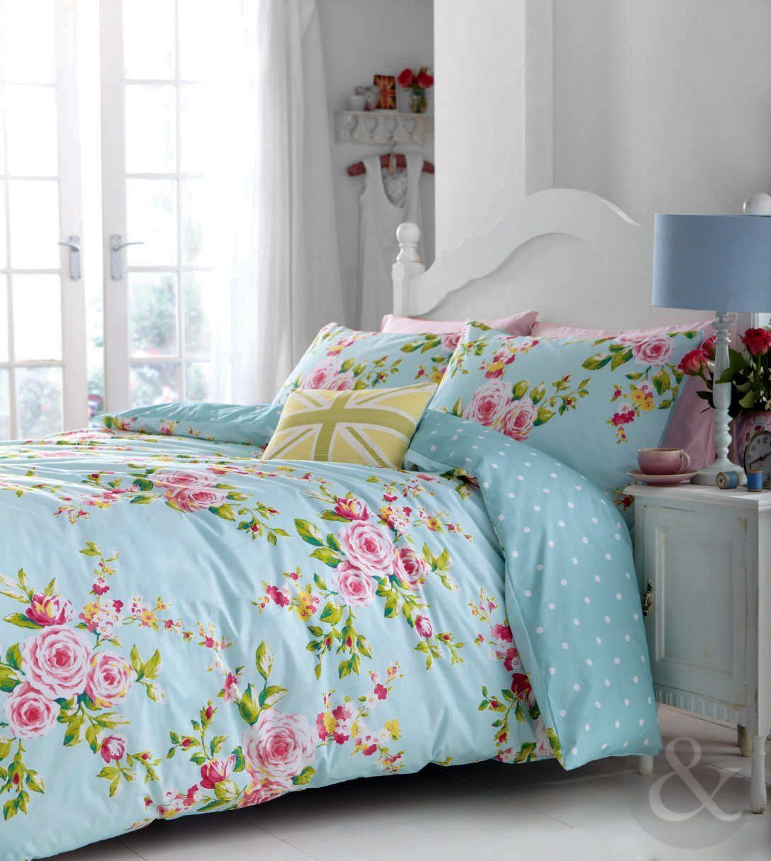 Shabby Chic Bedroom Uk Catherine Lansfield Vintage Floral Duvet Cover Set Single Blue