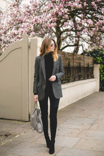 Office Look Turtle Neck Sweater Grey Blazer And Over The Knee Boots Cool Style