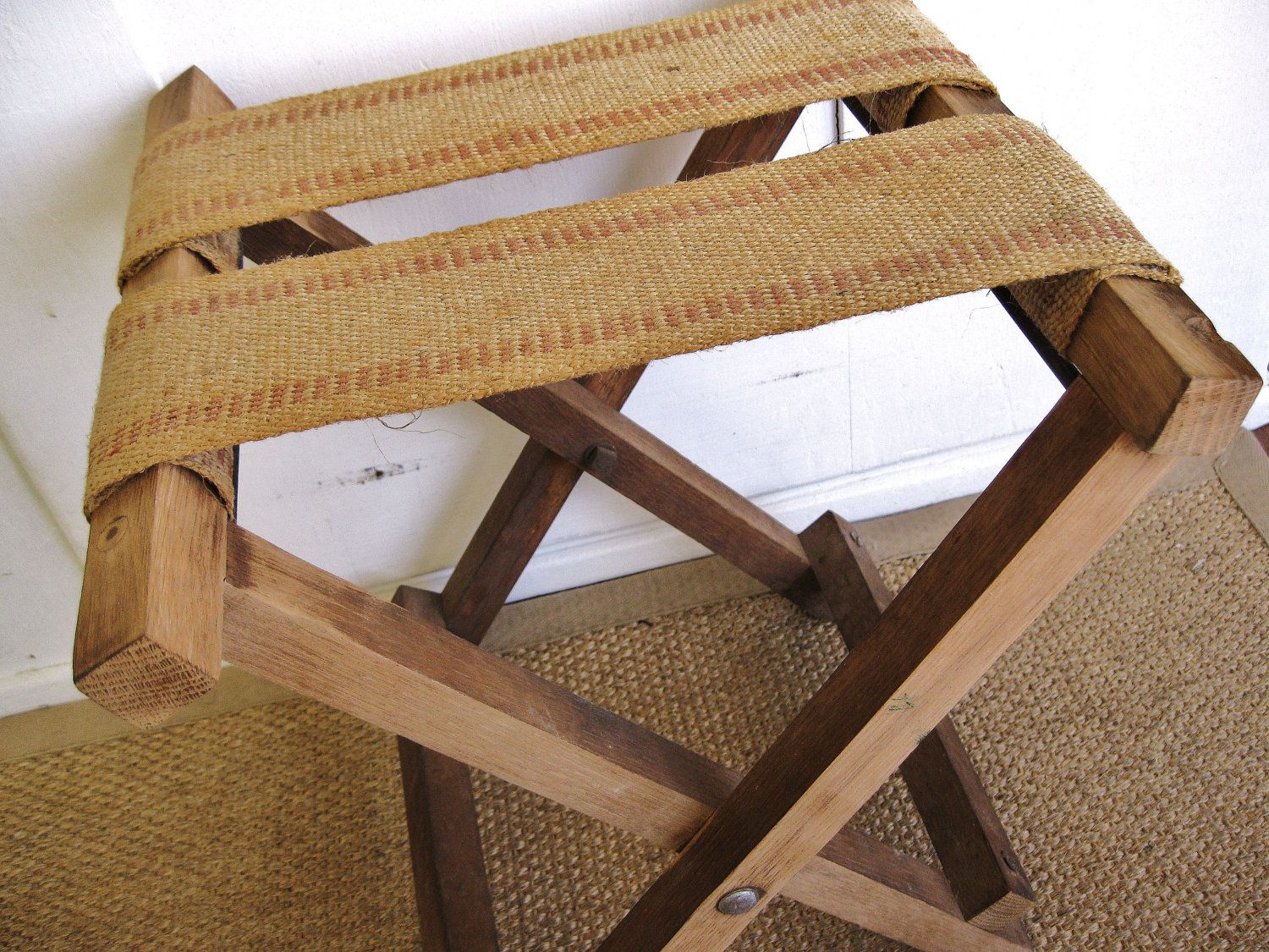 Rustic and Natural...Vintage Burlap Jute Webbing Fold Up Camp Stool Luggage Stand Stool Bench. $38.00, via Etsy.