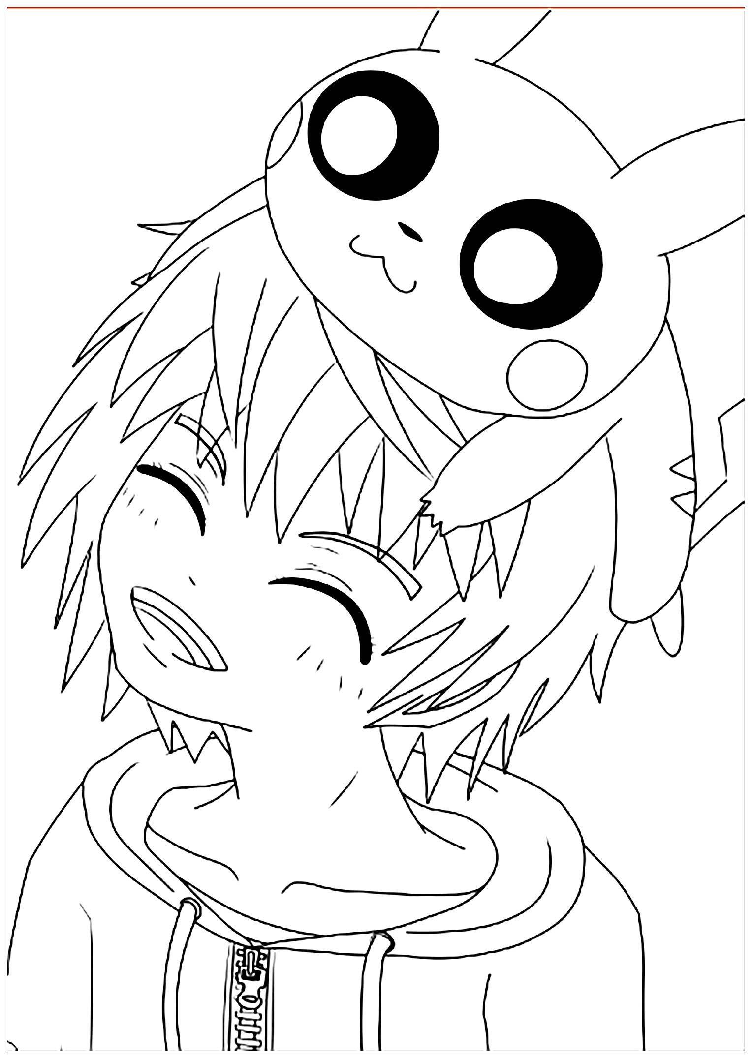 Nouveau Coloriage De Grand Garcon Avec Coloriage Kawaii Pikachu Et Coloriage Kawaii Coloriage Manga Dessin Kawaii