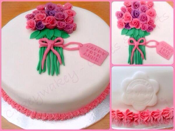 I loved making this cake, I think the bouquet of roses on it are so pretty