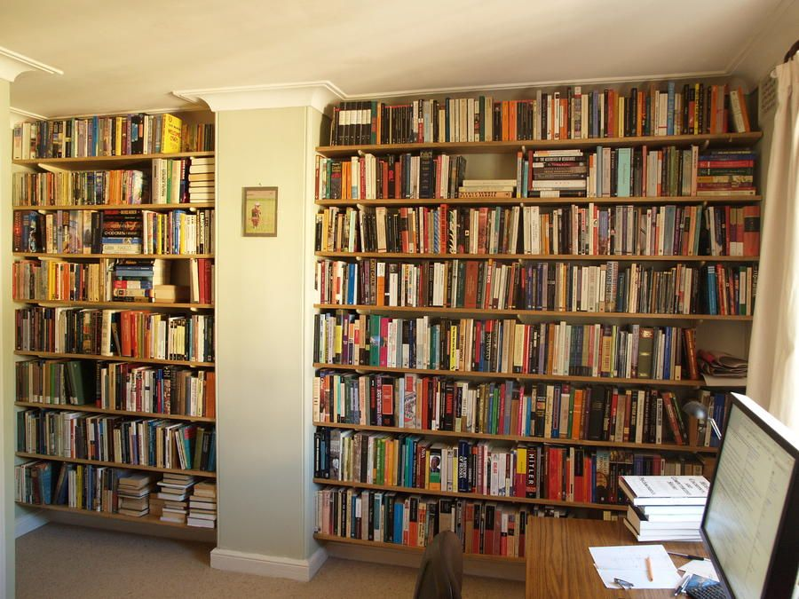 Wall mounted wooden bookshelves we 39 re lucky to have two - Wall mounted bookshelf designs ...