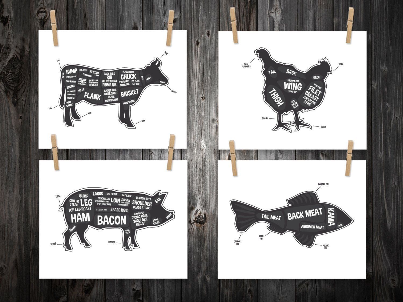 hight resolution of 4 butcher diagram prints cow pig fish chicken kitchen print