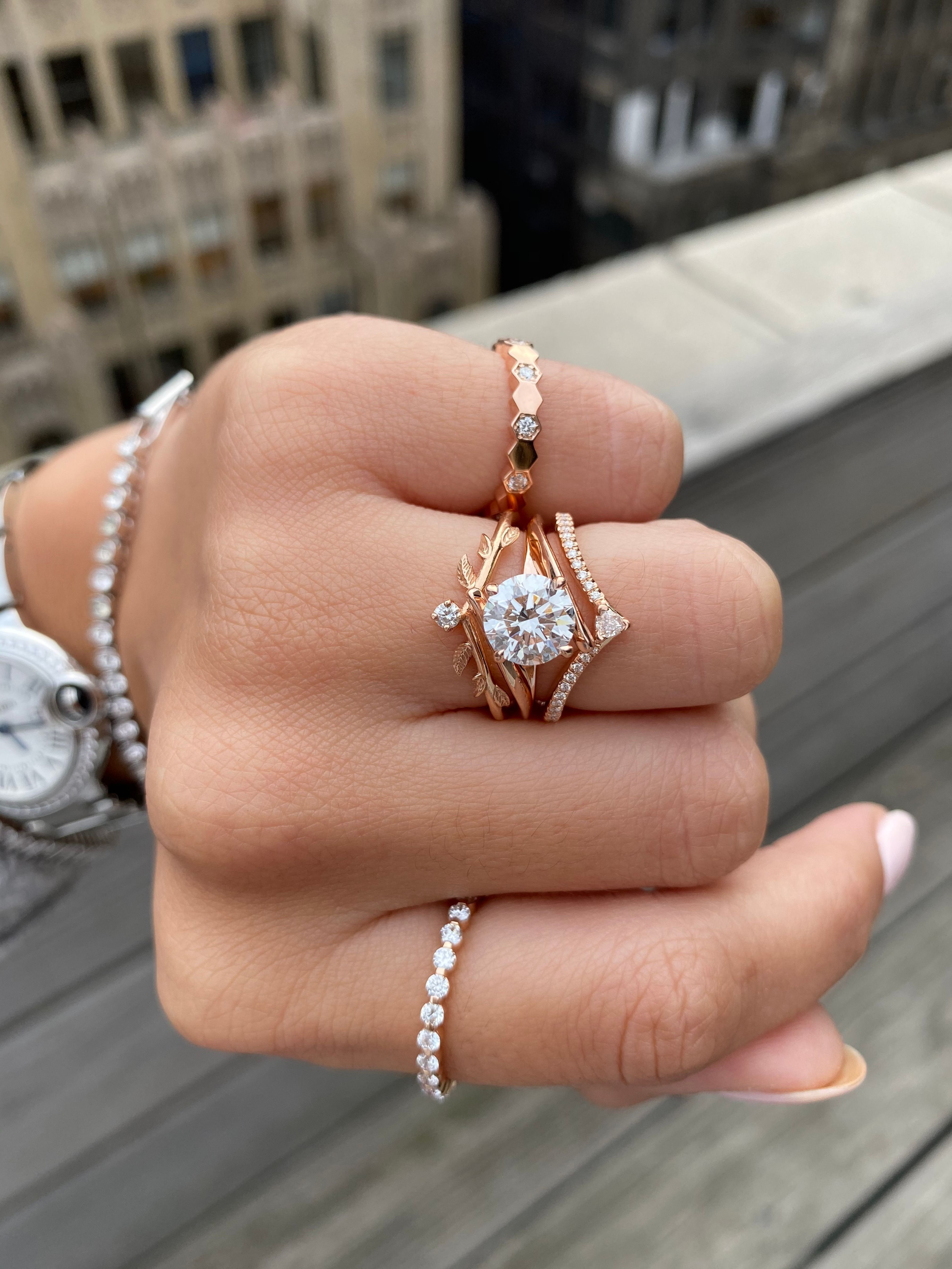 Princess Kylie Round Cubic Zirconia Designer 3 Piece Bridal Ring Set Rhodium Plated Sterling Silver