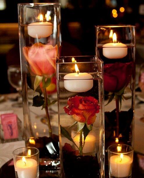 Pin de MariJo Perera en For the Home Pinterest Centros de mesa - centros de mesa para boda con velas flotantes