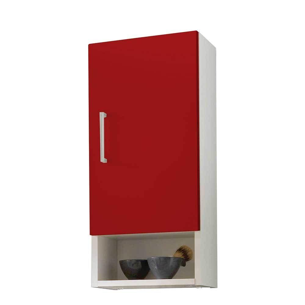Badezimmer Hängeschrank in Rot Weiß modern Jetzt bestellen unter