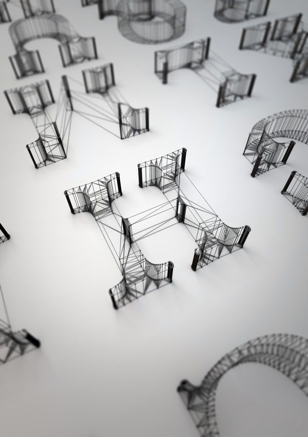 3D Wire Letters Alphabet By Dan Hoopert Typography Threads