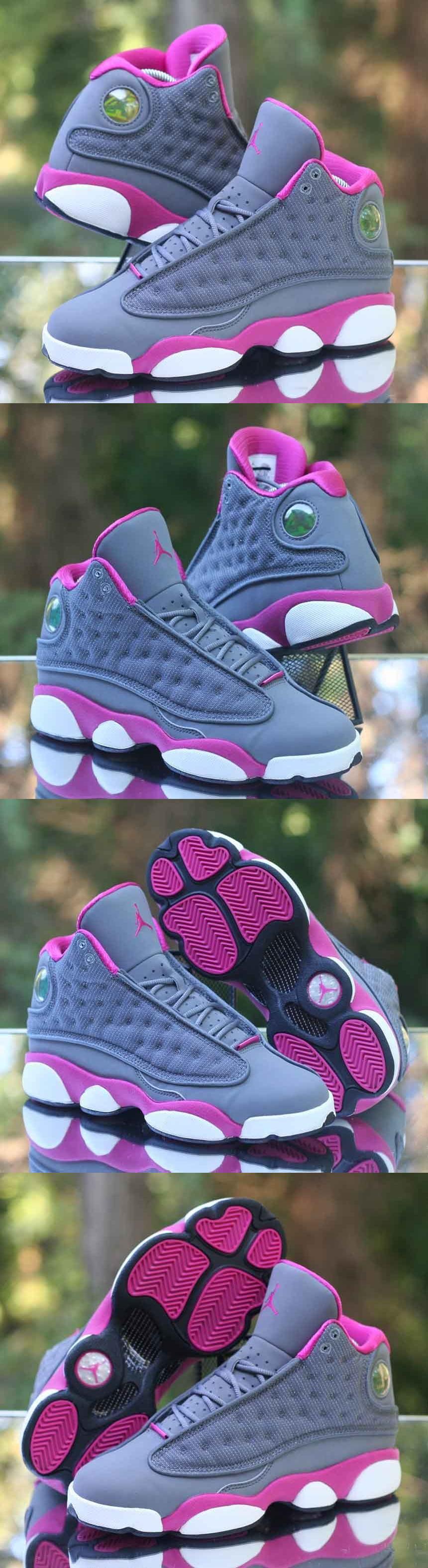 girls shoes 57974 nike girls air jordan 13 retro gs cool grey fusion pink 439358