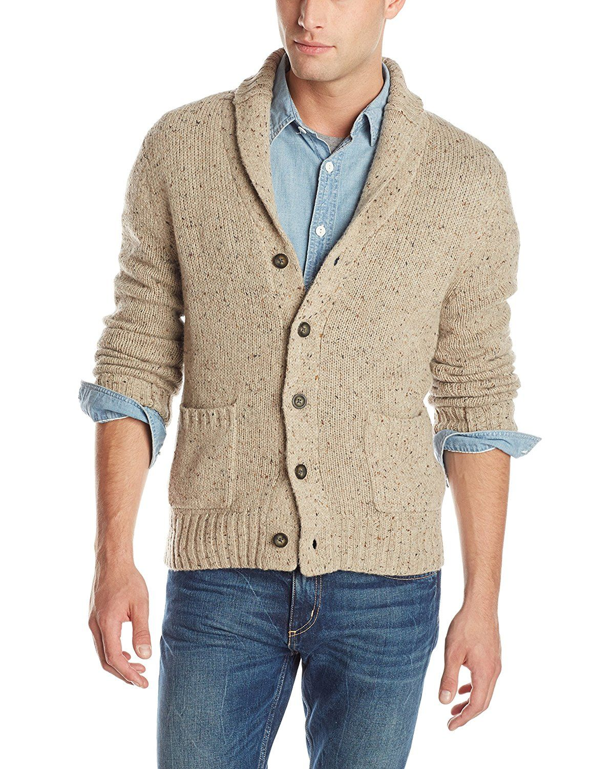 Mens Slim Fit Soft Shawl Collar Cardigan Sweater with Ribbing Edge ...