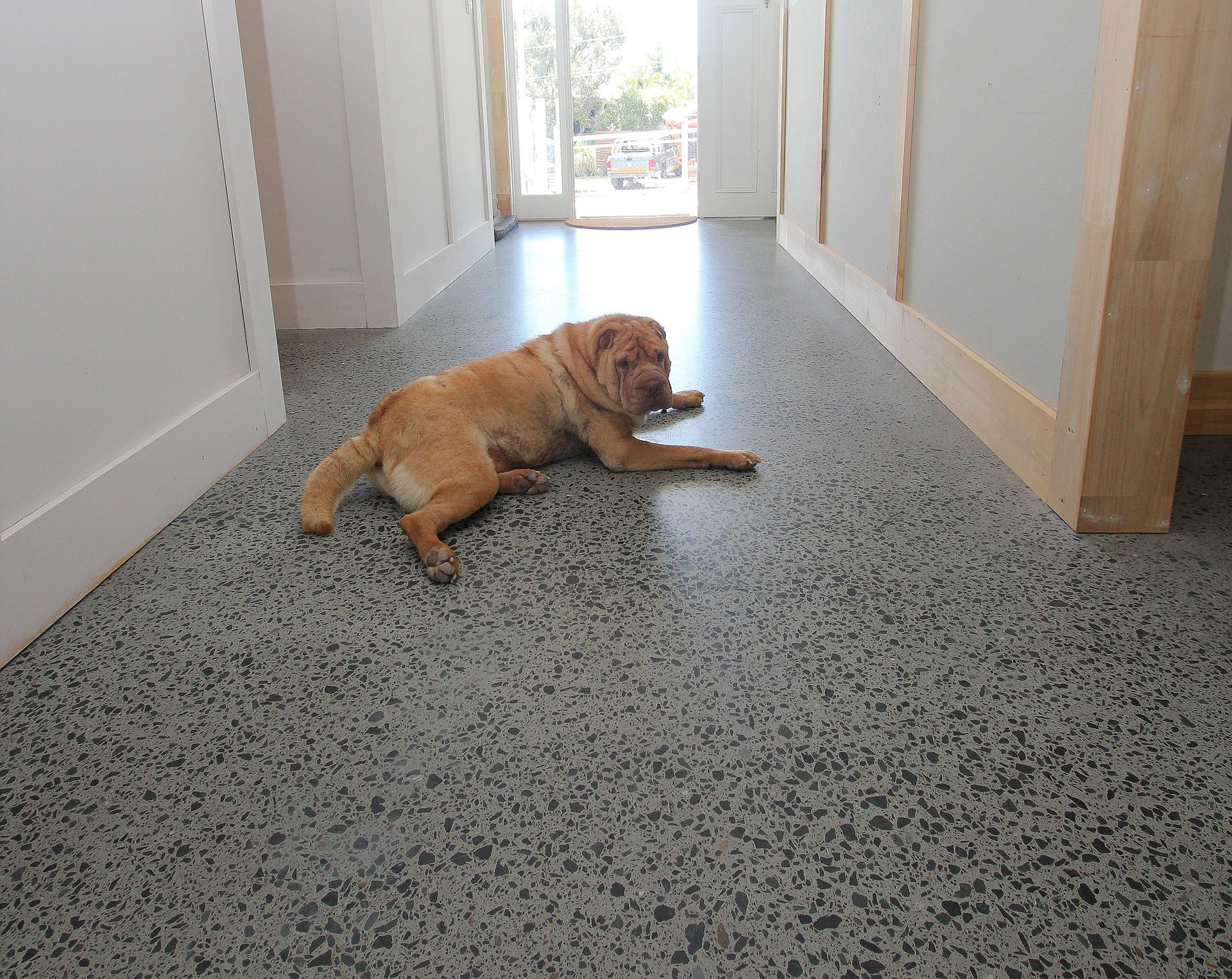 Feather finish concrete flooring is fast popular