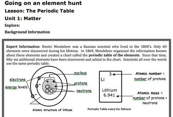 Periodic table elements lesson worksheet atomic mass 6th 7 ...