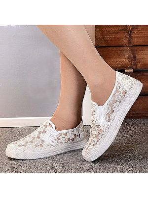 Lace Flat Lace Round Toe Casual Sneakers is part of Lace flats, Women shoes, Casual shoes women, Leather shoes woman, Casual sneakers, Fashion shoes - heel height  flat, material  lace, occasion  casual, package included  1  pair of shoes, pattern type  lace, season  autumn$$spring$$summer, style  elegant, toe  round toe, length
