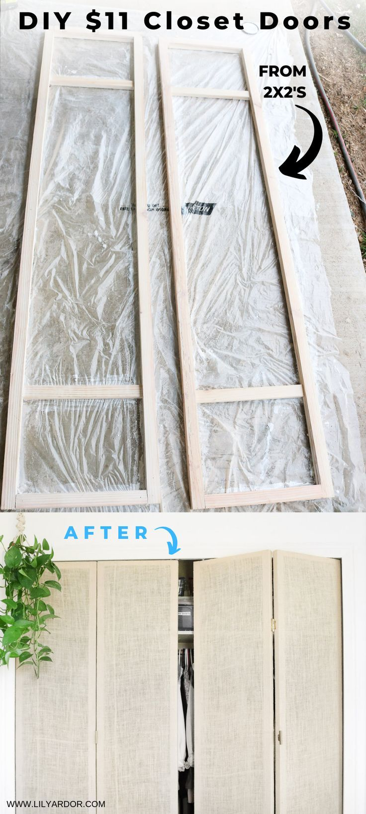 DIY Closet Doors under $50 #diyfurniture