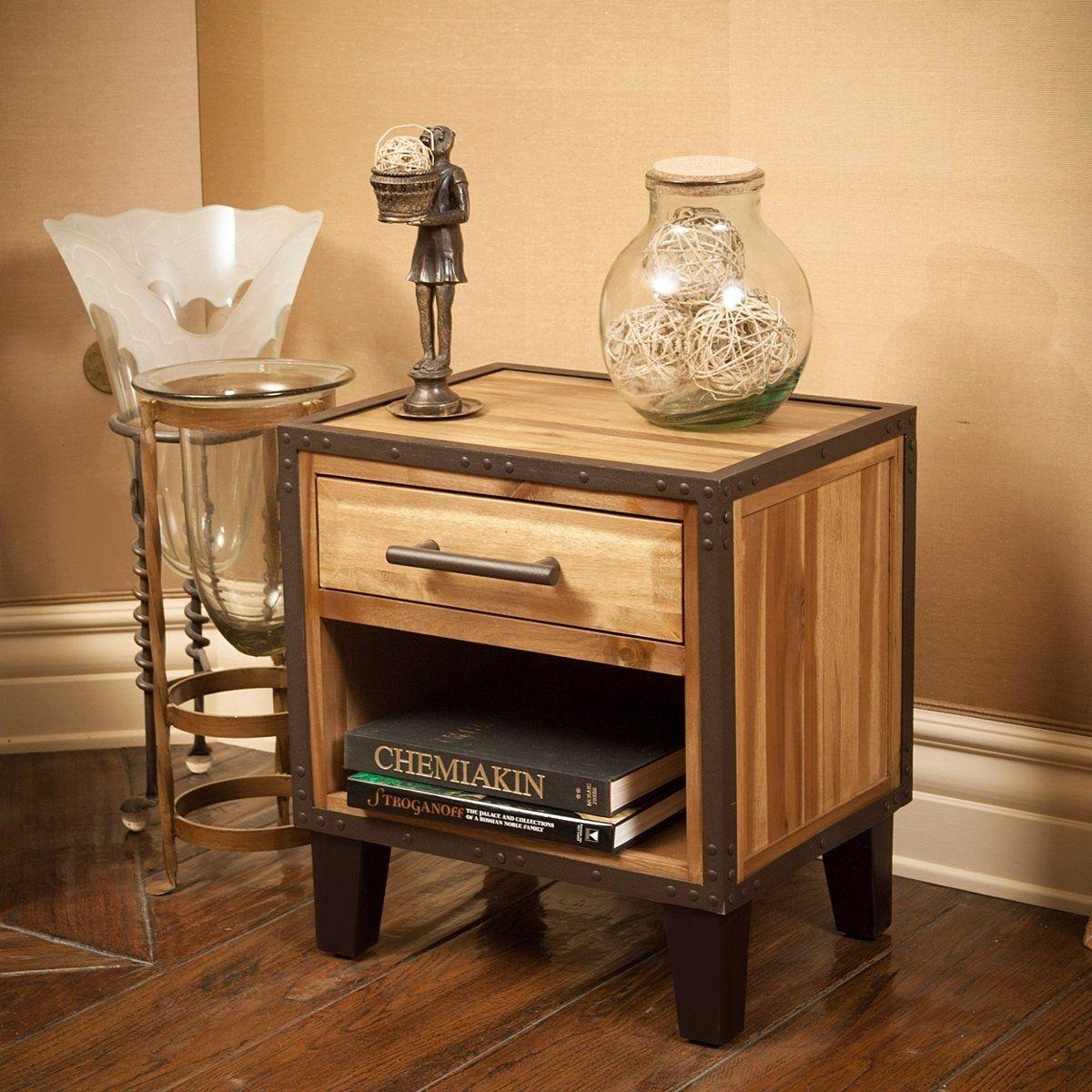 Glendora industrial solid wood single drawer end table