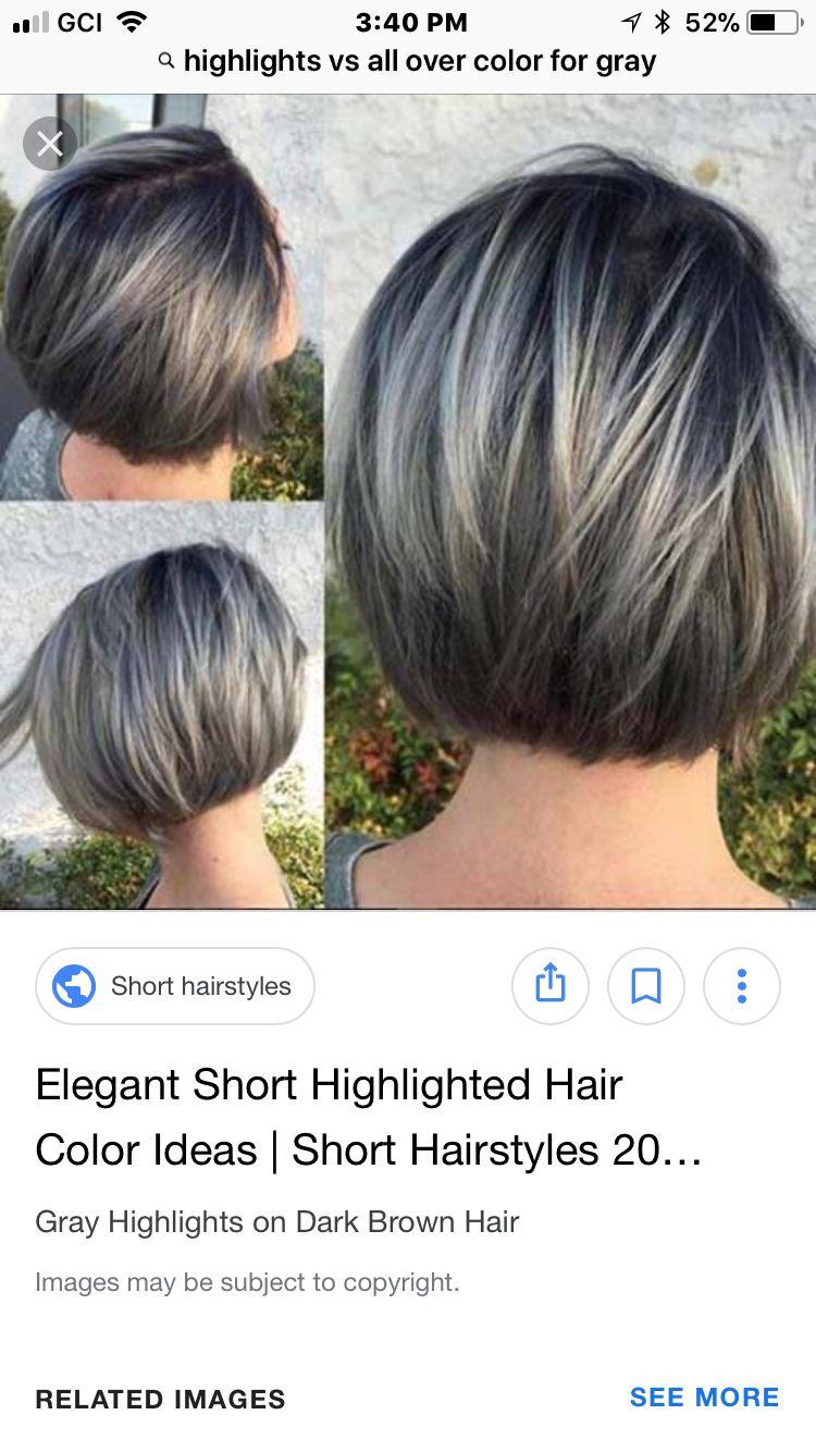 New bob grey hair  Gray hair highlights, Hair styles, Transition