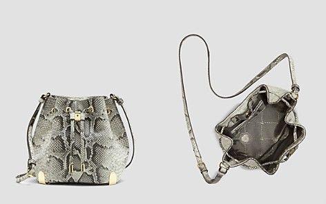 VINCE CAMUTO Crossbody - Janet Python-Embossed #snakeskin #bucketbag #drawstring