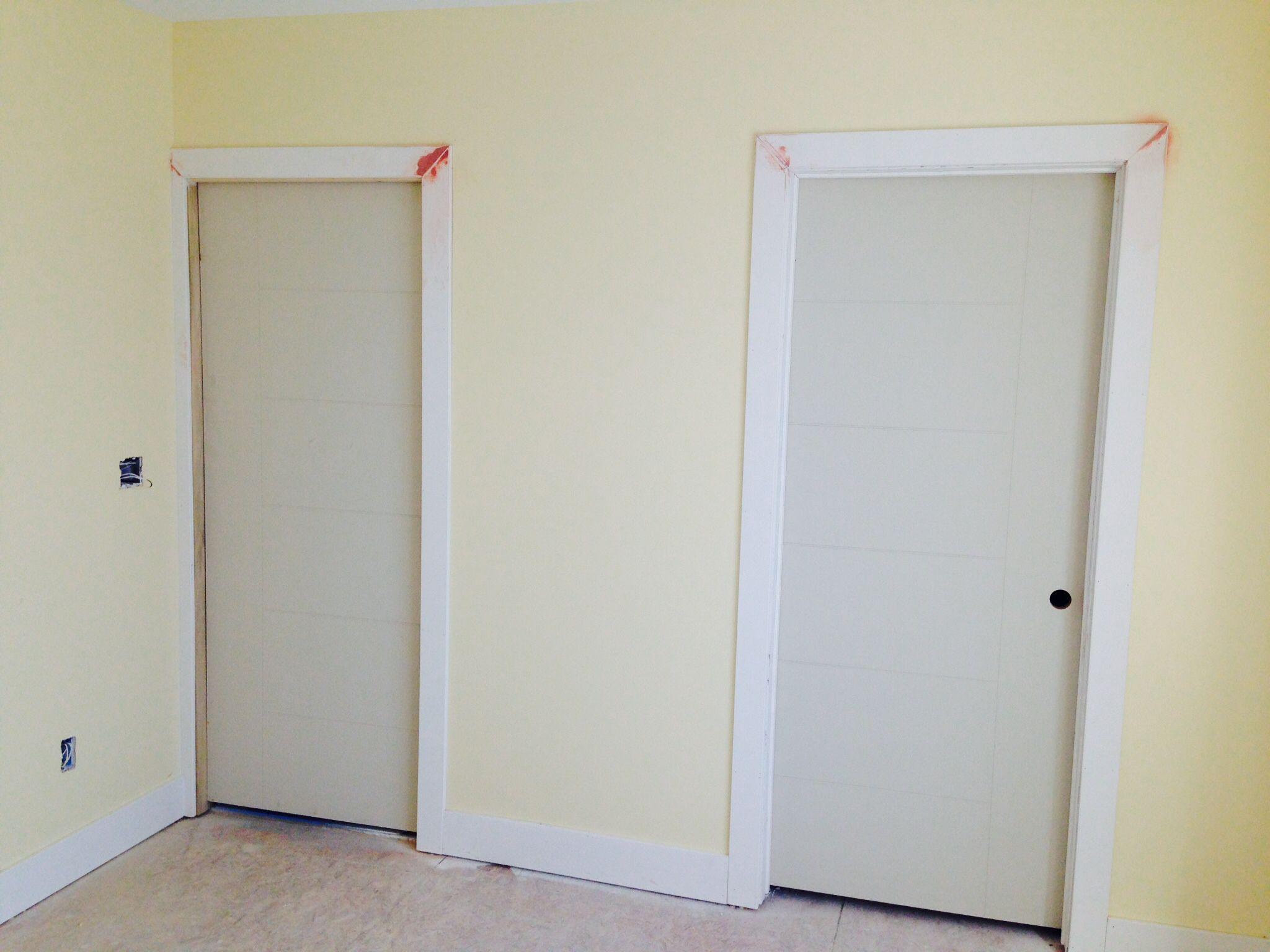 Pocket door on left walk in closet door on right