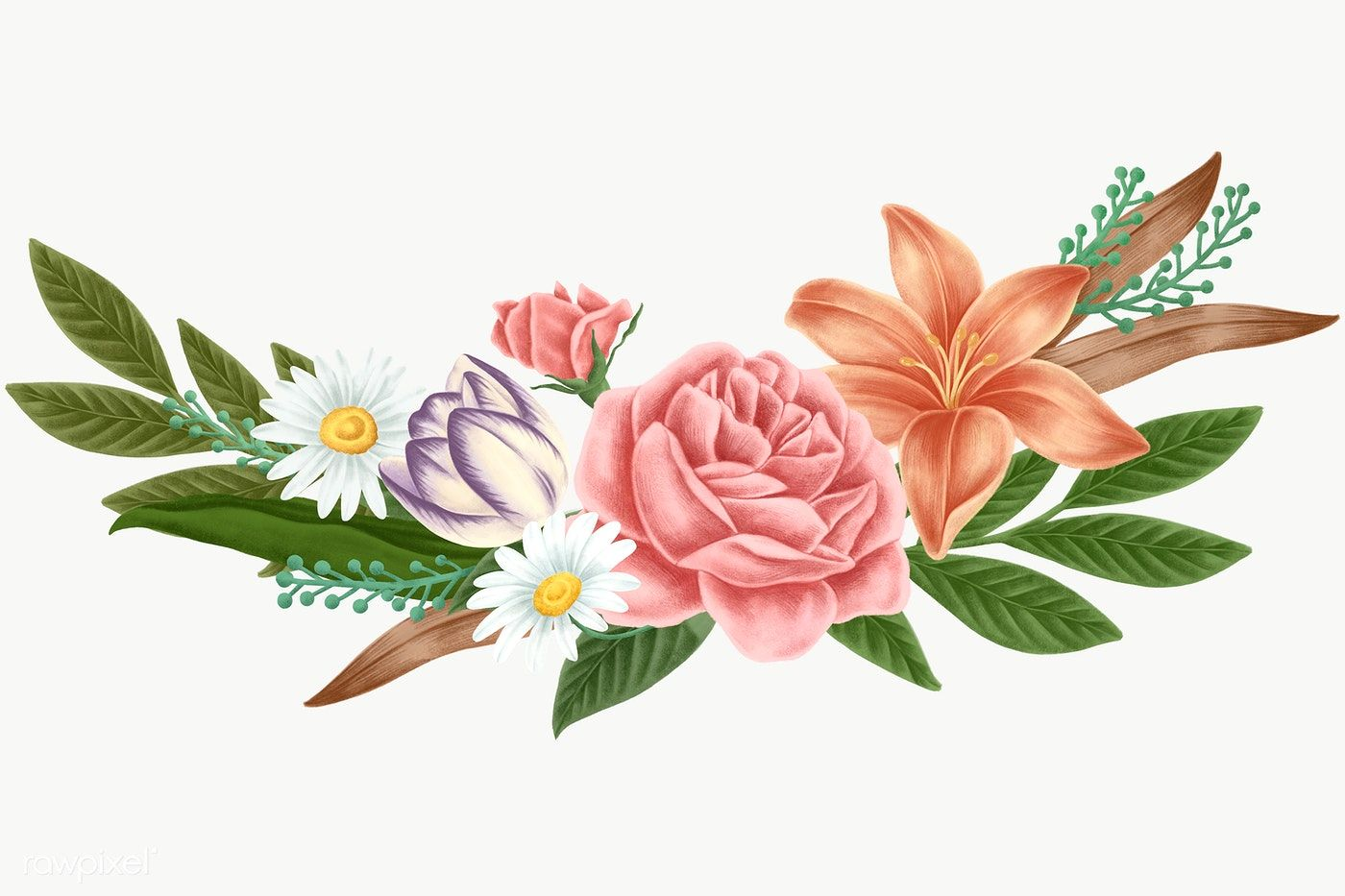 Vintage Flower Bunch Transparent Png Premium Image By Rawpixel Com Noon Flower Illustration Bunch Of Flowers Vintage Flowers