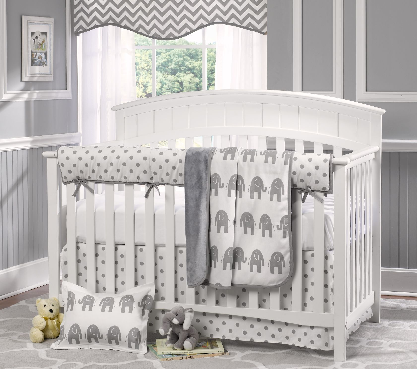 Gray Elephant Crib Bedding Set Gender Neutral Liz And Roo