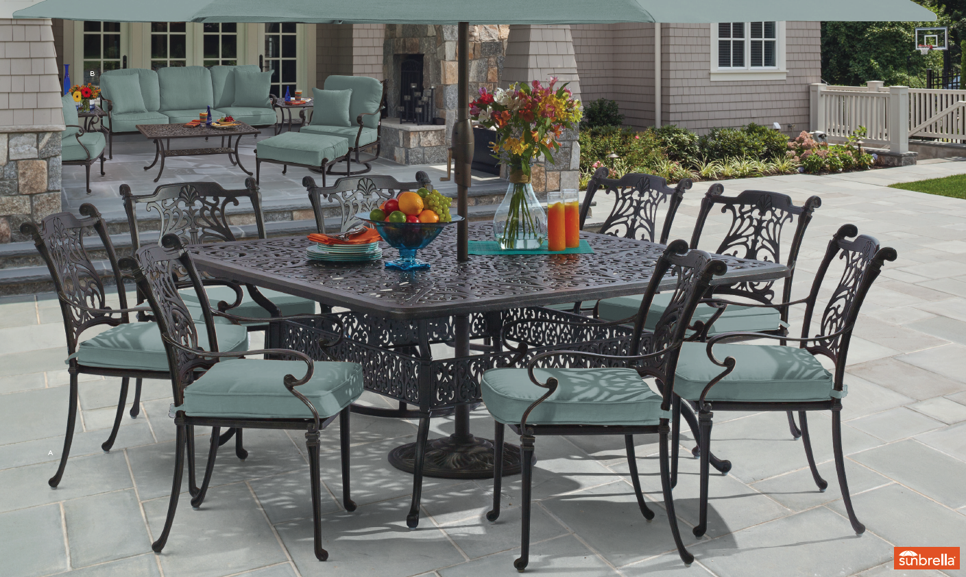 naples 5 pc dining set with 90 x 64 rectangular cast top table