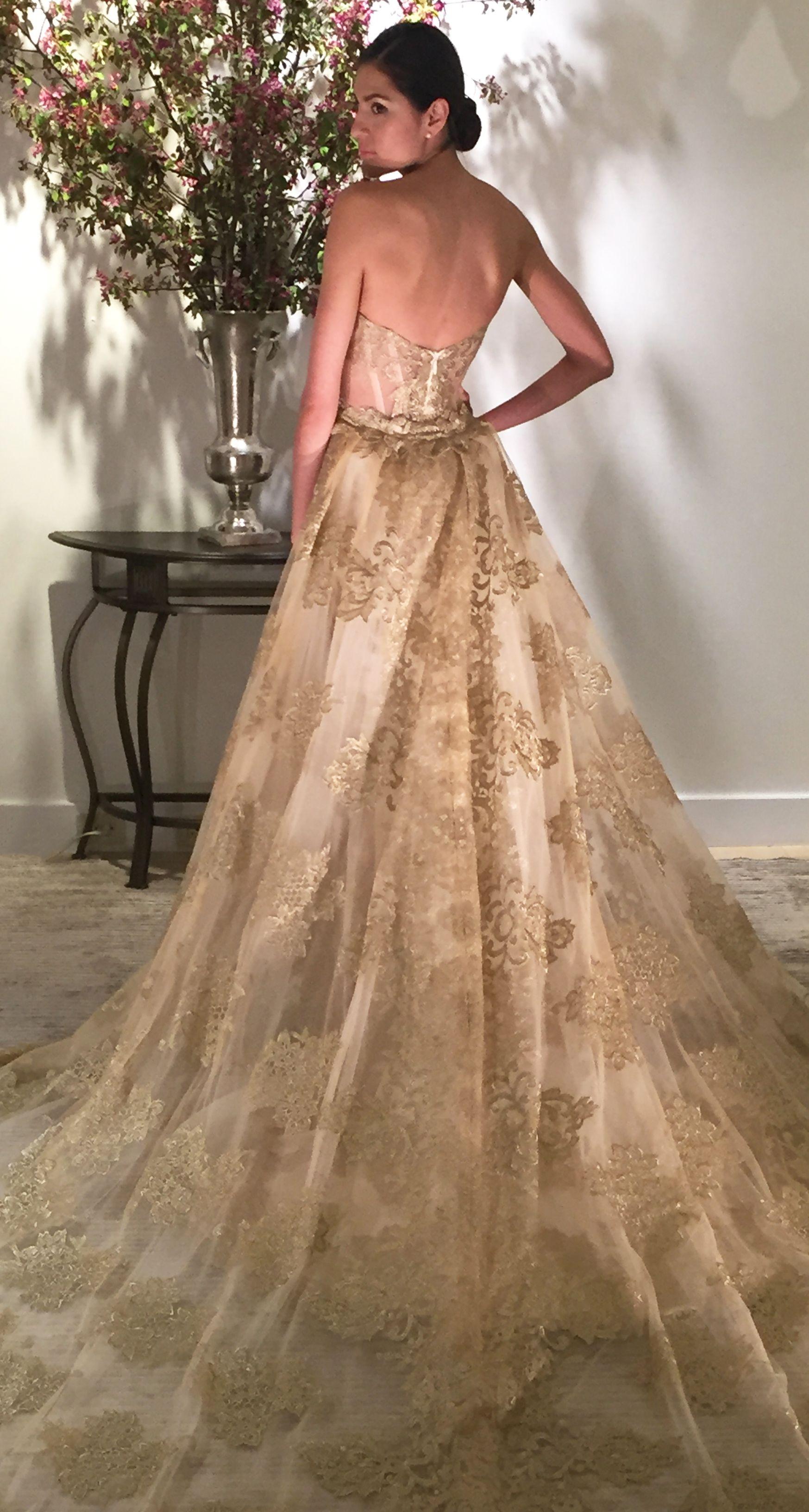 Gold wedding dress by kelly faetanini spring 2017 for Rami kadi wedding dresses prices