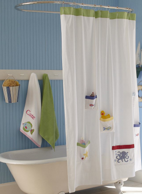 Cute Shower Curtain With Storage Pockets