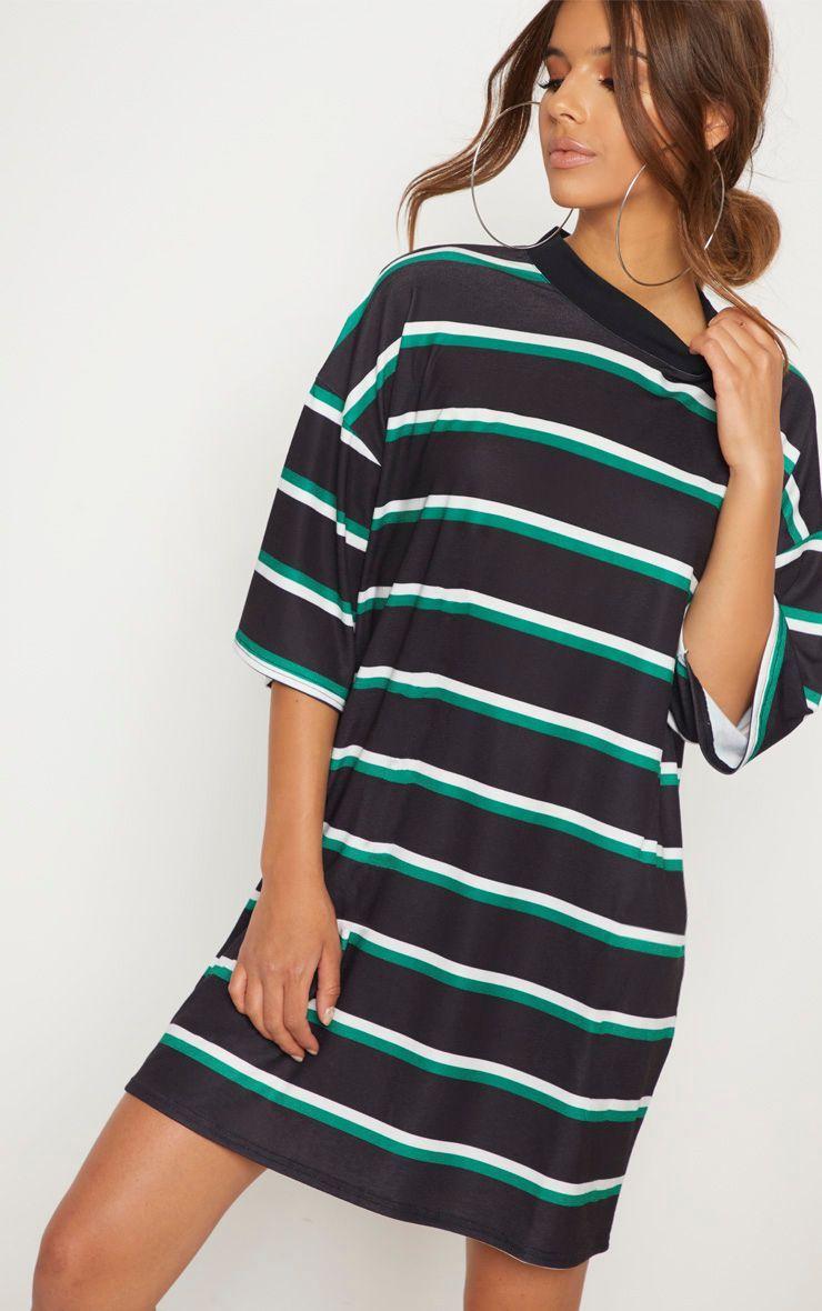 ae8249566c Black Stripe Oversized Boyfriend T Shirt Dress in 2019 | Clothes ...