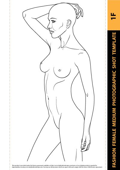 Beachwear Design - Fashion Female Drawing Template 1F Female